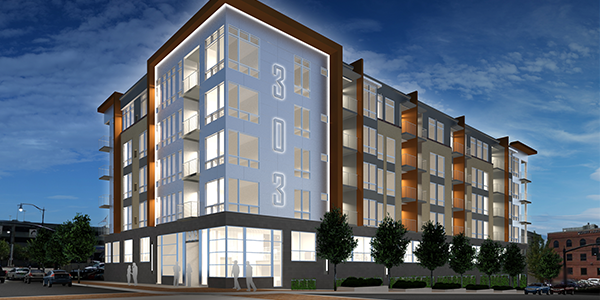 Apartment Building Front announcing 303 south front street - borror